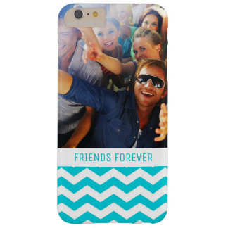 Custom Photo & Text White and Aqua Zig Zag Pattern Barely There iPhone 6 Plus Case