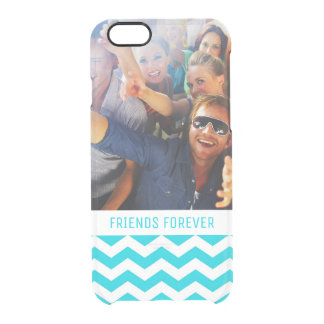 Custom Photo & Text White and Aqua Zig Zag Pattern Clear iPhone 6/6S Case