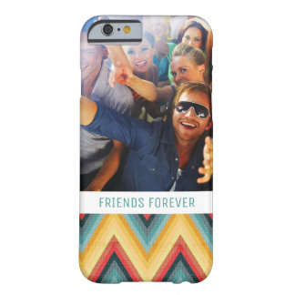 Custom Photo & Text Zig Zag Striped Background 2 Barely There iPhone 6 Case