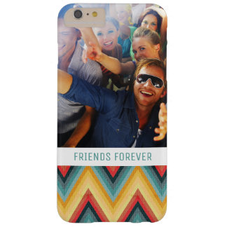 Custom Photo & Text Zig Zag Striped Background 2 Barely There iPhone 6 Plus Case