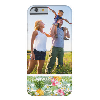Custom Photo Tropical Flowers & Pineapple Stripes Barely There iPhone 6 Case