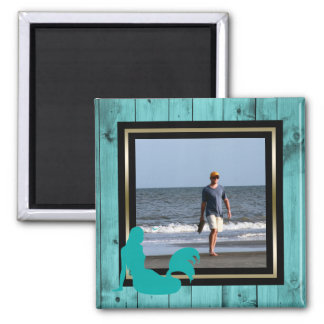 Custom Photo Turquoise Wood Mermaid Nautical Teal Magnet