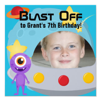 Custom Photo UFO Alien Birthday Invitation
