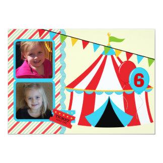 Custom Photo Under the Big Top Birthday Invitation