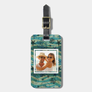 Custom Photo Vintage Shells And Starfish Pattern Luggage Tag