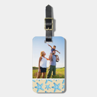 Custom Photo Watercolor Blue Starfish Pattern Luggage Tag