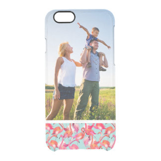 Custom Photo Watercolor Flamingos Gathered Clear iPhone 6/6S Case