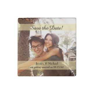 Custom Photo Wedding Save the Date Stone Magnets