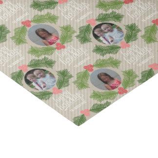 Custom Photo Whimsical Christmas Holiday Greeting Tissue Paper