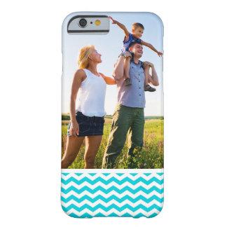 Custom Photo White and Aqua Zig Zag Pattern Barely There iPhone 6 Case