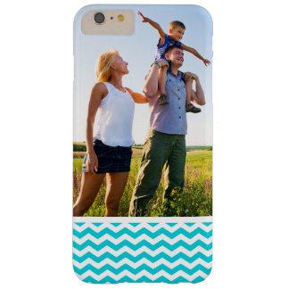 Custom Photo White and Aqua Zig Zag Pattern Barely There iPhone 6 Plus Case