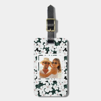 Custom Photo White Tropical Flowers Pattern Luggage Tag