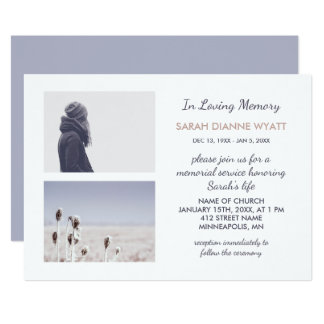 Custom Photo | Winter Memorial Service Card