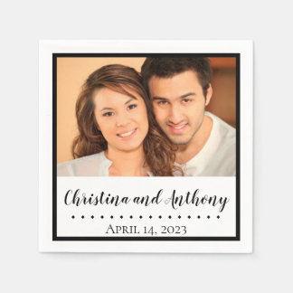 Custom Photo with Monogram Wedding Paper Napkin