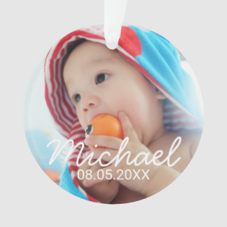 Custom Photo with Name and Date Ornament