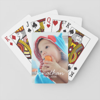 Custom Photo with Name and Date Playing Cards