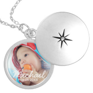 Custom Photo with Name and Date Silver Plated Necklace