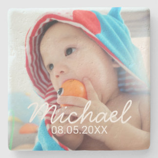 Custom Photo with Name and Date Stone Coaster