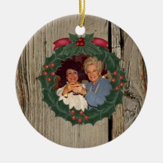 Custom Photo Woodgrain Christmas Ornament