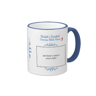 Custom Photo! Worlds Greatest American White Horse Coffee Mugs