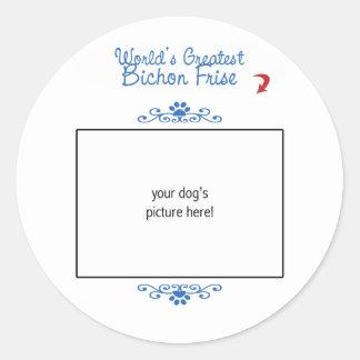 Custom Photo! Worlds Greatest Bichon Frise Classic Round Sticker