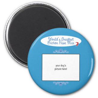 Custom Photo! Worlds Greatest Bichon Frise Mix 2 Inch Round Magnet