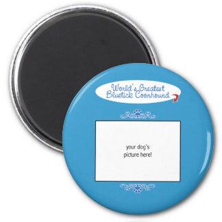 Custom Photo! Worlds Greatest Bluetick Coonhound 2 Inch Round Magnet