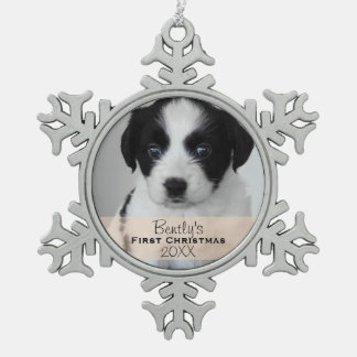 Custom Photo Year Puppy's First Christmas Pewter Snowflake Ornament