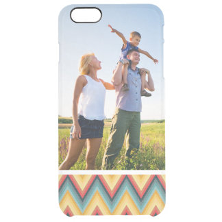 Custom Photo Zig Zag Striped Background 2 Clear iPhone 6 Plus Case