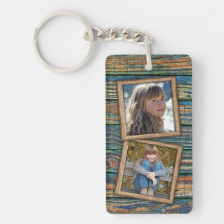 Custom Photographs On Rustic Wooden Planks Pattern Keychain