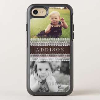Custom Photos & Name | Dark Wood & White Lace OtterBox Symmetry iPhone 8/7 Case