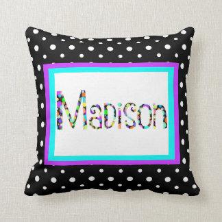 Custom Pillow, Gumball Name, aqua/purple/B&W spots Throw Pillow