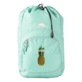 Custom pineapple art design aqua blue backpack