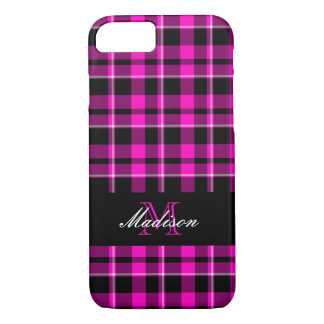 Custom Pink and Black Plaid Modern Monogram Case-Mate iPhone Case