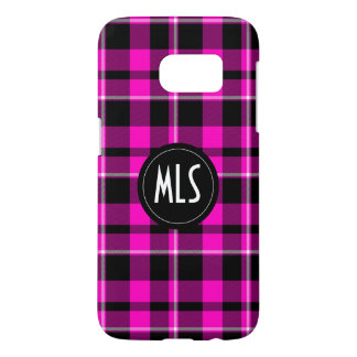 Custom Pink and Black Plaid Modern Monogram Samsung Galaxy S7 Case