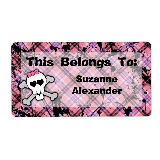 Custom Pink and Black Skull w Crossbones Book or Shipping Label