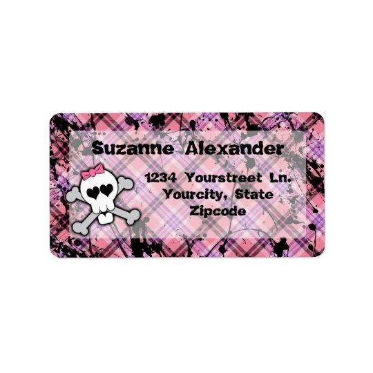 Custom Pink and Black Skull w Crossbones Label
