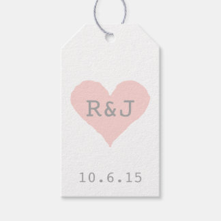 Custom Pink and Grey Heart Pack Of Gift Tags