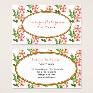 Custom Pink and White Petunias Floral Art Business Card