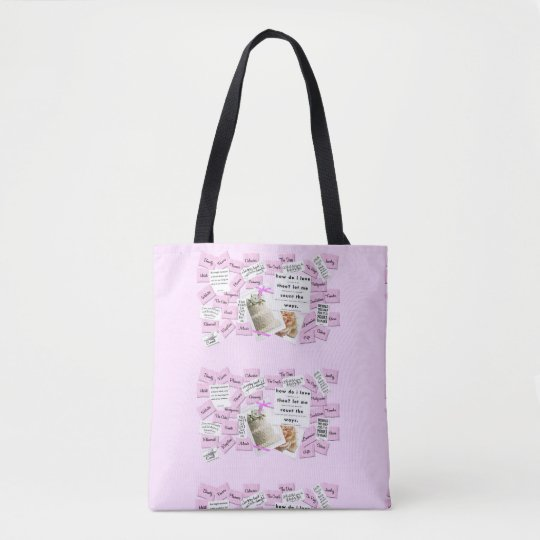 Custom Pink and White Wedding Tote Bag