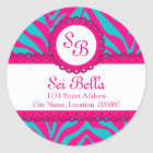 CUSTOM Pink Aqua Zebra Stripes and Lace Monogram Classic Round Sticker