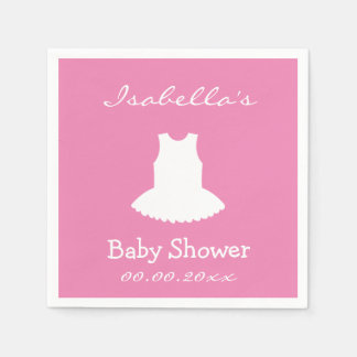 Custom pink ballerina tutu baby shower napkins disposable napkin