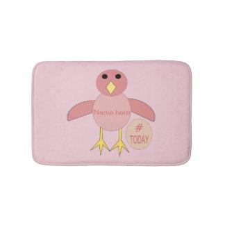 Custom Pink Birthday Girl Chick Bath Mat
