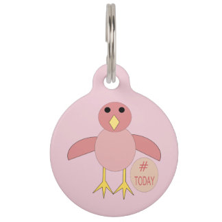 Custom Pink Birthday Girl Chick Dog Tag