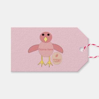 Custom Pink Birthday Girl Chick Gift Tags