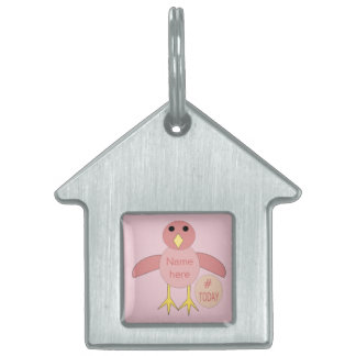 Custom Pink Birthday Girl Chick Pet Tag