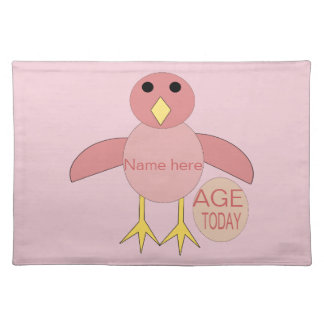 Custom Pink Birthday Girl Chick Placemat