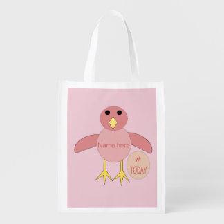 Custom Pink Birthday Girl Chick Reusable Bag