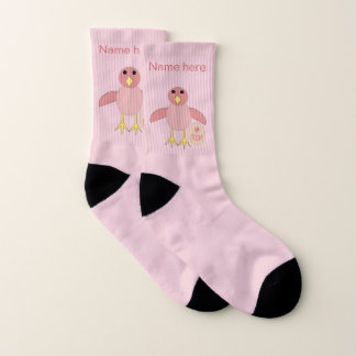 Custom Pink Birthday Girl Chick Socks 1