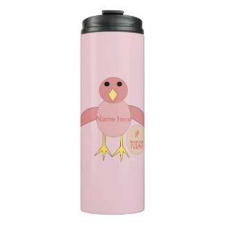 Custom Pink Birthday Girl Chick Thermal Tumbler